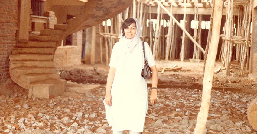 Kiran Mazumdar-Shaw at the Biocon building site