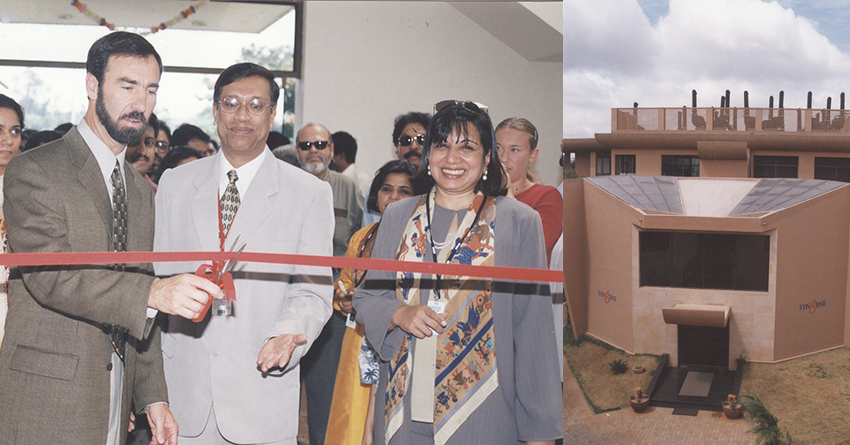 Dr Gordon Ringold with Kiran Mazumdar-Shaw and Goutam Das, COO, Syngene at the inauguration of Syngene