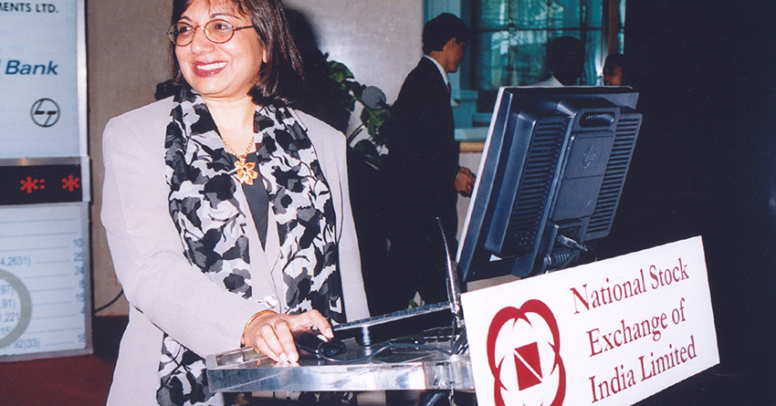 Kiran Mazumdar-Shaw at the National Stock Exchange, Mumbai on the day Biocon went public