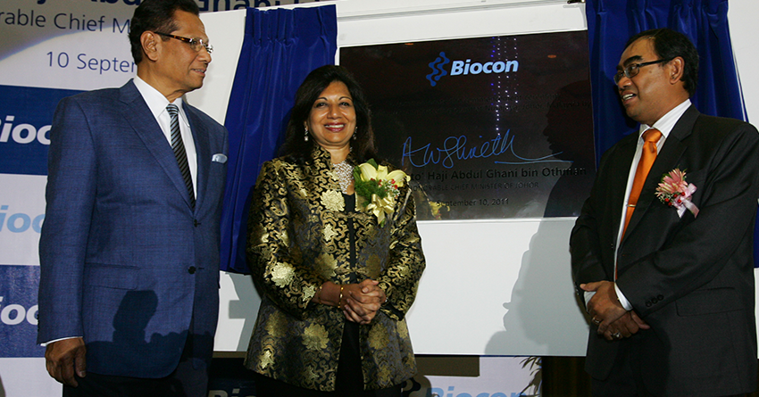 Kiran Mazumdar-Shaw at the unveiling of the plaque commemorating the initiation of the Malaysia insulin facility project