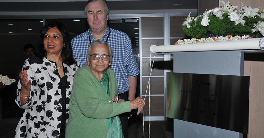 Yamini Mazumdar, Kiran Mazumdar-Shaw and John Shaw at the inauguration of Biocon House