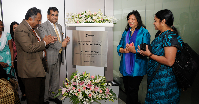 Kiran Mazumdar-Shaw with Amitabh Kant, CEO of NITI Ayog, at the inauguration of the state-of-the-art new insulin devices facility in Bengaluru