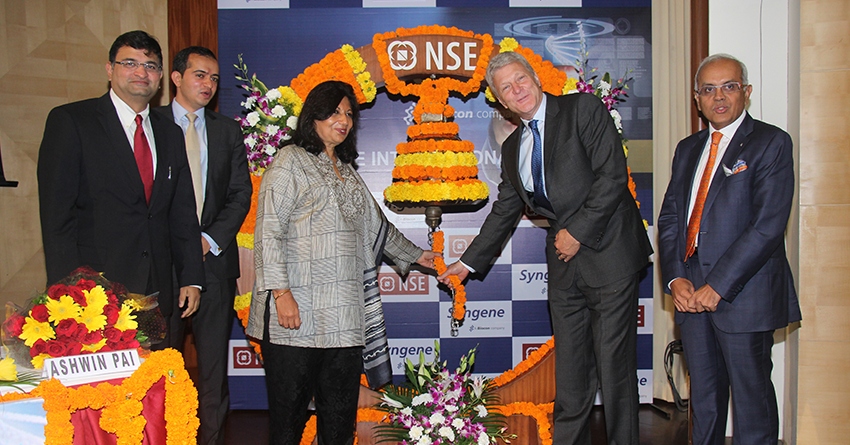 Kiran Mazumdar-Shaw, Peter Bains and other dignitaries at the debut of Syngene on the Indian stock market.