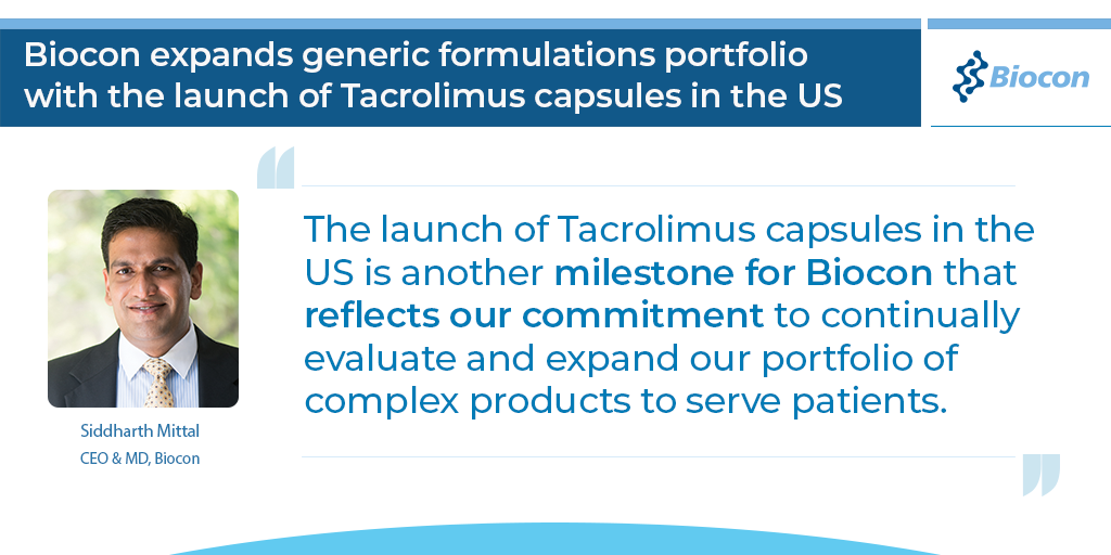 Biocon expands generic formulations portfolio with the launch of Tacrolimus capsules in the US