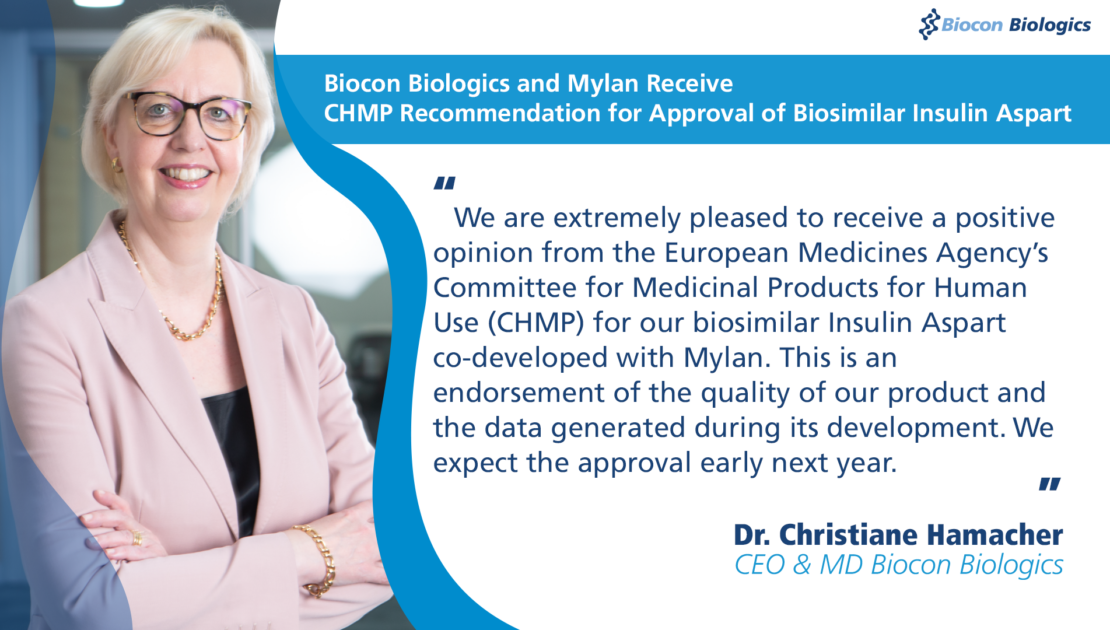 Biocon Biologics and Mylan Receive CHMP Recommendation for Approval of Biosimilar Insulin Aspart