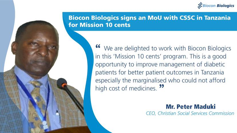 Biocon Biologics signs an MoU with CSSC in Tanzania for Mission 10 cents