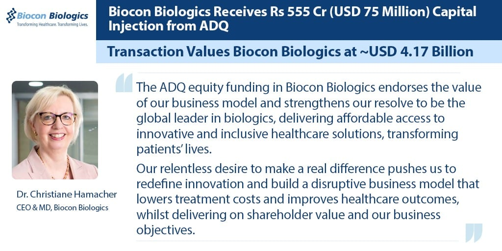 Biocon Biologics Receives Rs 555 Cr (USD 75 Million) Capital Injection from ADQ
