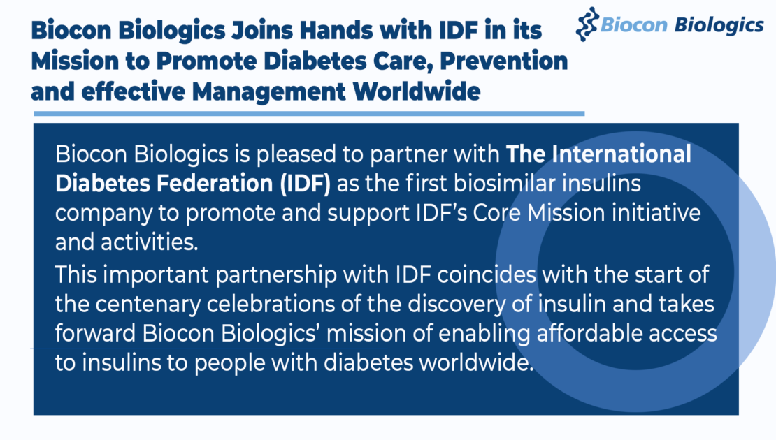 Biocon Biologics Joins Hands with IDF in its Mission to Promote Diabetes Care