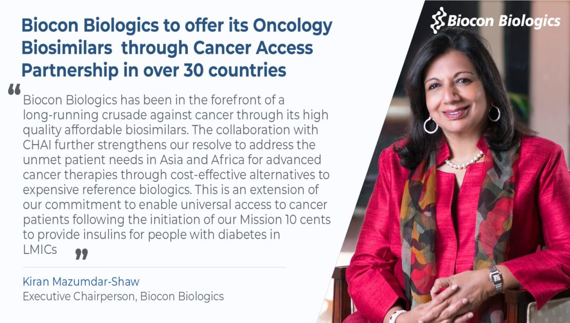 Biocon Biologics to offer its Oncology Biosimilars through Cancer Access Partnership in over 30 countries
