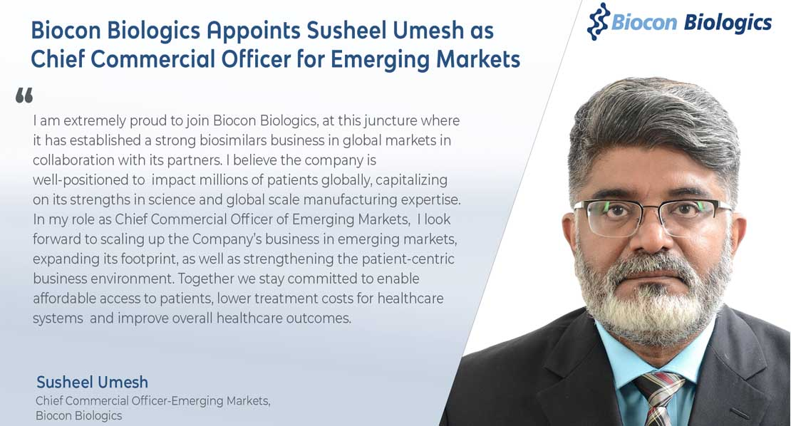 Biocon Biologics Appoints Susheel Umesh as Chief Commercial Officer for Emerging Markets